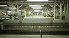 Factory department with machines, looms Stock Footage