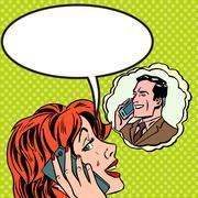 Woman man phone talk Pop art vintage comic - stock illustration