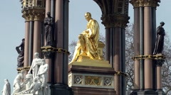 Albert memorial gold statue close up London Stock Footage