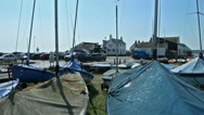 Stock Video Footage of small sailing boats with covers in boat park