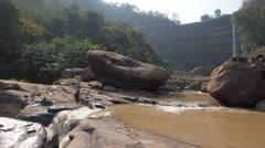 Waterfall in dry season,Tad Lo,Laos Stock Footage
