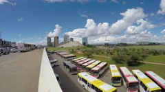Panoramic view of the famous avenue in Brasilia city capital of Brazil Stock Footage