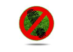 Sign prohibited walk on the grass - stock illustration