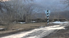 Lonely border post in forest Stock Footage