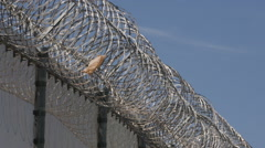 Razor wire atop the US Border fence at Otay Mesa - stock footage
