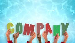 Stock Illustration of Composite image of hands holding up company