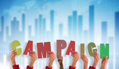 Stock Illustration of Composite image of hands holding up campaign