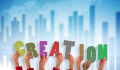 Composite image of hands holding up creation - stock illustration
