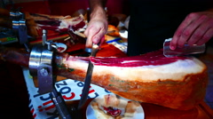 4K UHD Spanish cuisine food Jamon Serrano ham cutting Tenerife island Canary Stock Footage
