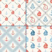 Seamless vector pattern set of anchor, sailboat shape in frame Stock Illustration