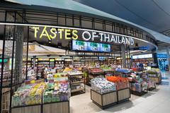 duty free shopping, Bangkok international airport - stock photo