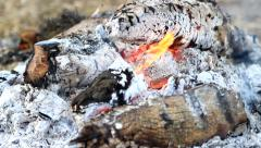 Burning fire with smoke and red-hot inside Stock Footage