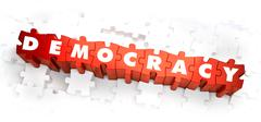 Democracy - Word on Red Puzzles Stock Illustration