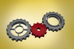 Stock Illustration of Composite image of cogs and wheels