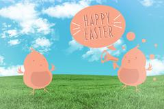 Stock Illustration of Composite image of happy easter graphic