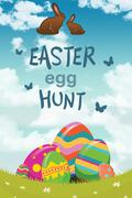 Composite image of easter egg hunt graphic - stock illustration
