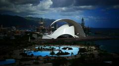 4K UHD Auditorium Auditorio architecture on coast Santa Cruz de la Tenerife - stock footage