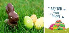 Composite image of easter  egg hunt graphic Stock Illustration