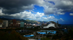 Stock Video Footage of 4K UHD Auditorium Auditorio architecture on coast Santa Cruz de la Tenerife