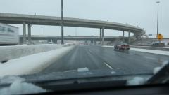 Highway bridges. Winter drive on the 401. Toronto, Canada. Stock Footage