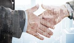 Stock Illustration of Composite image of two people going to shake their hands