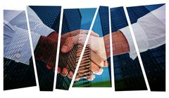Composite image of close-up shot of a handshake Stock Illustration