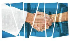 Composite image of extreme closeup of a doctor and patient shaking hands - stock illustration