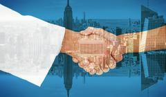 Composite image of extreme closeup of a doctor and patient shaking hands Stock Illustration