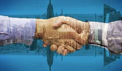 Stock Illustration of Composite image of hand shake in front of wires