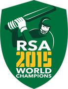 Stock Illustration of South Africa Cricket 2015 World Champions Shield