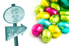 Composite image of easter egg hunt sign - stock illustration
