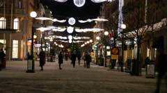 Time lapse of a people in a pedestrian zone at Christmas Stock Footage
