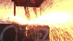 Peeling of slab, Flakes flame by blowing gas. Stock Footage
