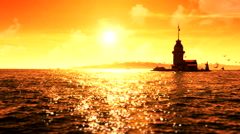 Maidens Tower sunset sea 1 1 - stock footage