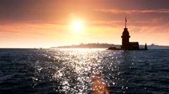 Stock Video Footage of Maidens Tower sunset sea 2