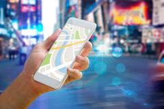Composite image of man using map app on phone Stock Photos