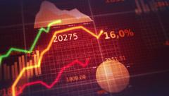 Colorful financial diagrams showing profit and loss. 2 in 1. Dark red. Stock Footage
