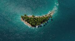 Aerial view of a paradise tropical island - stock illustration