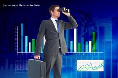 Composite image of businessman looking through binoculars - stock illustration