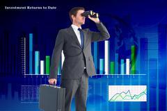 Composite image of businessman looking through binoculars Stock Illustration