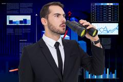 Stock Illustration of Composite image of surprised businessman standing and holding binoculars
