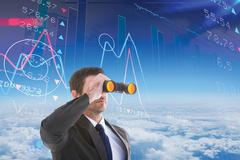 Composite image of young businessman looking through binoculars Stock Illustration