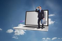 Composite image of businessman looking through binoculars holding briefcase - stock illustration