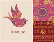 Bohemian, Tribal, Ethnic background with swallow bird and patterns Stock Illustration