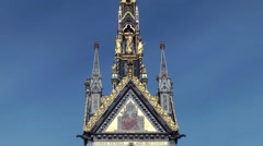 Albert memorial gold statues close up deep blue sky London Stock Footage