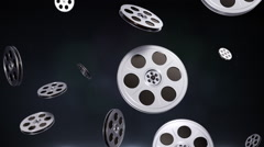 Movie Theater Projection Reels in Elegant Looping Dark Background - stock footage