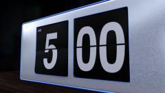 Retro Flip Alarm Clock at 5AM Closeup Stock Footage