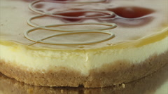 Rotating blueberry cheesecake - closeup - stock footage