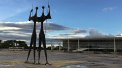 Tres Poderes Square in Brasilia, Brazil Stock Footage