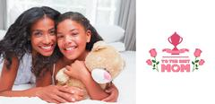 Stock Illustration of Composite image of pretty woman lying on bed with her daughter smiling at camera